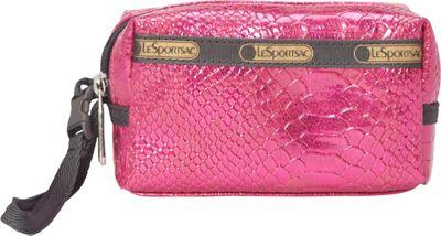 LeSportsac Small 2 Zip Wristlet Pink Snake - LeSportsac Fabric Handbags