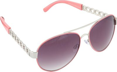 SouthPole Eyewear Metal Aviator Sunglasses Silver/Coral - SouthPole Eyewear Sunglasses