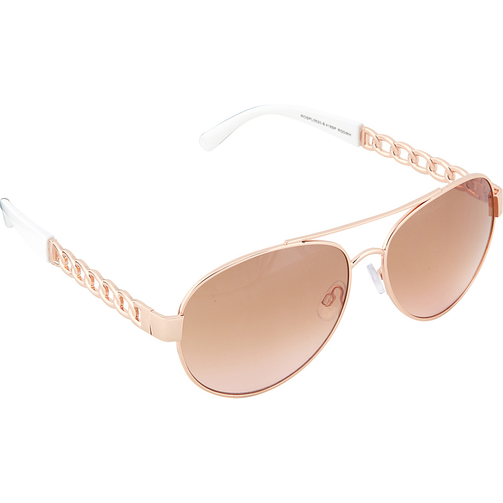 SouthPole Eyewear Metal Aviator Sunglasses Rose Gold White SouthPole Eyewear Sunglasses