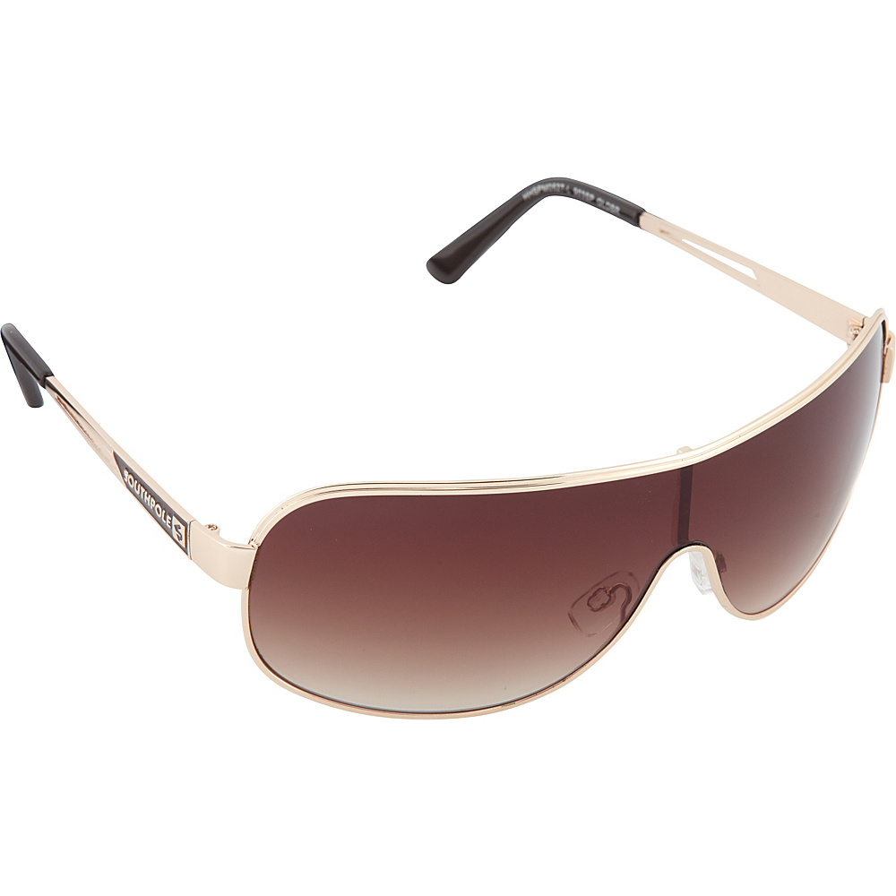 SouthPole Eyewear Metal Shield Sunglasses Gold Brown SouthPole Eyewear Sunglasses
