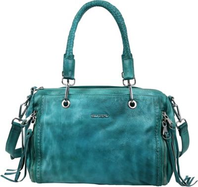 Old Trend Walnut Satchel Aqua - Old Trend Leather Handbags