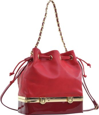 Dasein Structured Bucket Bag Red - Dasein Manmade Handbags