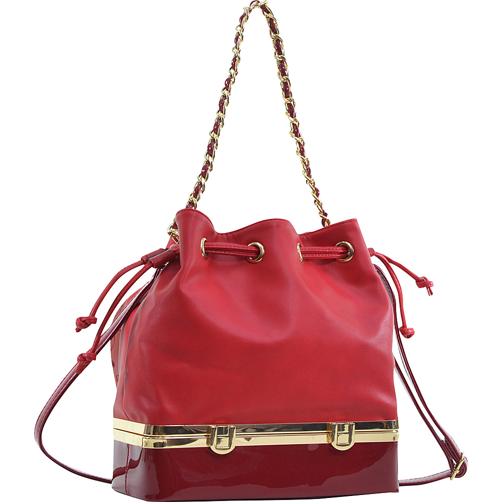 Dasein Structured Bucket Bag Red - Dasein Manmade Handbags - Handbags, Manmade Handbags