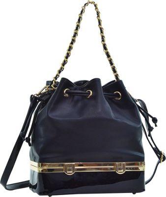 Dasein Structured Bucket Bag Black - Dasein Manmade Handbags