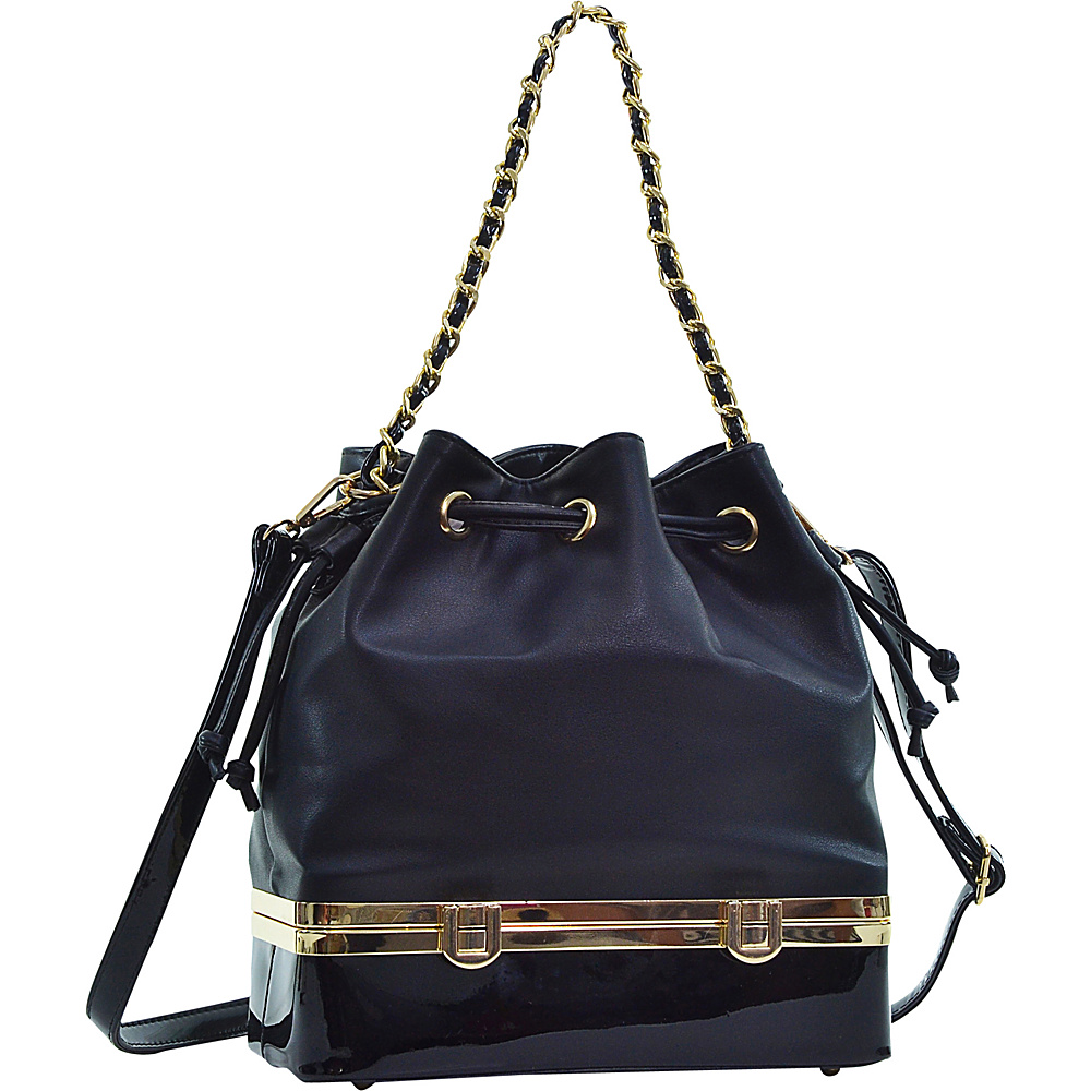 Dasein Structured Bucket Bag Black - Dasein Manmade Handbags - Handbags, Manmade Handbags