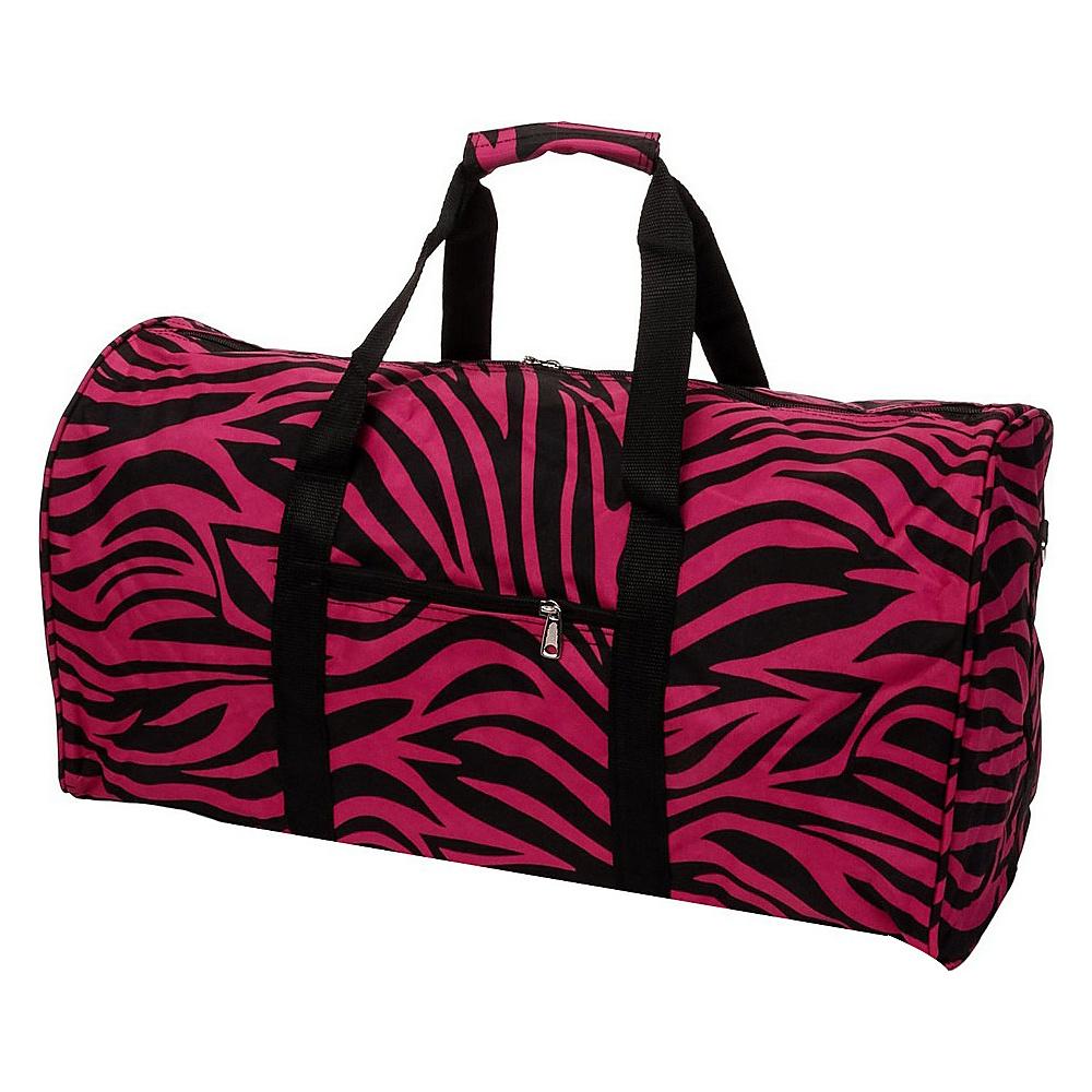 World Traveler Zebra 22  Lightweight Duffle Bag Fuchsia Black Zebra - World Traveler Rolling Duffels - Luggage, Rolling Duffels