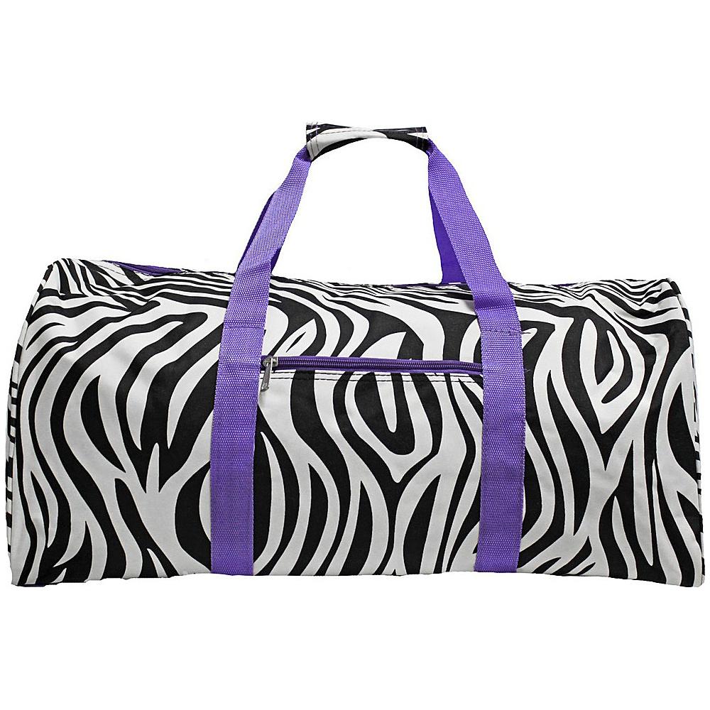 World Traveler Zebra 22  Lightweight Duffle Bag Light Purple Trim Zebra - World Traveler Rolling Duffels - Luggage, Rolling Duffels