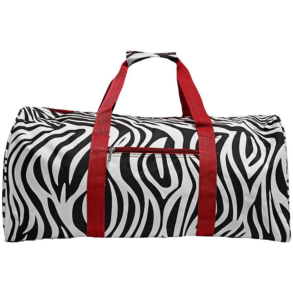 World Traveler Zebra 22  Lightweight Duffle Bag Red Trim Zebra - World Traveler Rolling Duffels - Luggage, Rolling Duffels