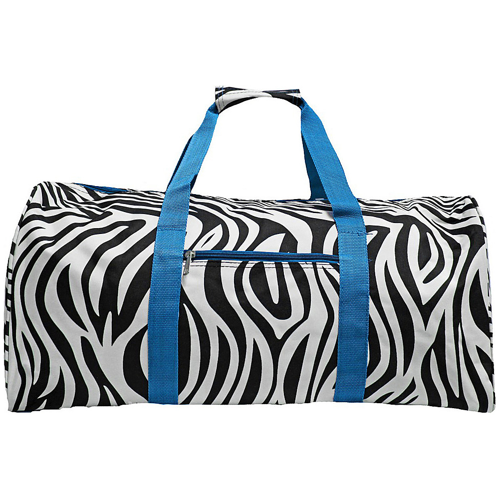 World Traveler Zebra 22  Lightweight Duffle Bag Blue Trim Zebra - World Traveler Rolling Duffels - Luggage, Rolling Duffels