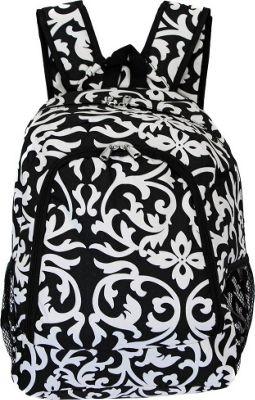 World Traveler Damask 16 inch Multipurpose Backpack Black Trim Damask - World Traveler Everyday Backpacks