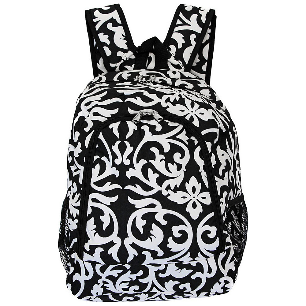 World Traveler Damask 16 Multipurpose Backpack Black Trim Damask World Traveler Everyday Backpacks