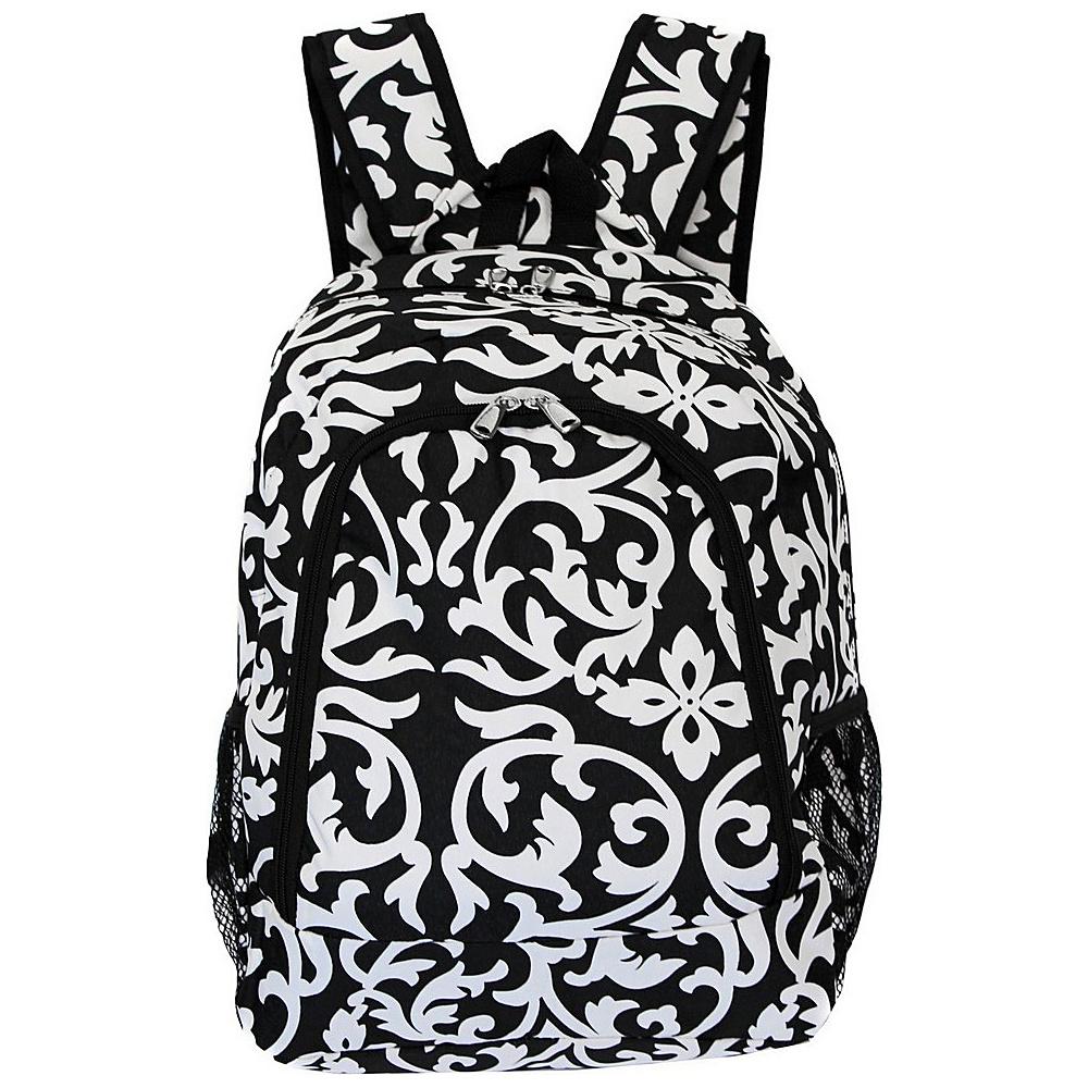 World Traveler Damask 16 Multipurpose Backpack Black Trim Damask - World Traveler Everyday Backpacks - Backpacks, Everyday Backpacks