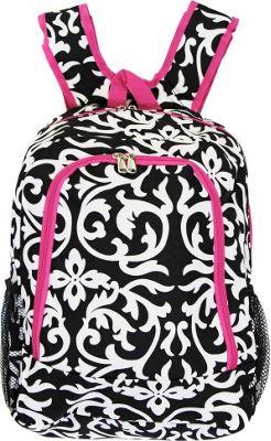 World Traveler Damask 16 inch Multipurpose Backpack Pink Trim Damask - World Traveler Everyday Backpacks