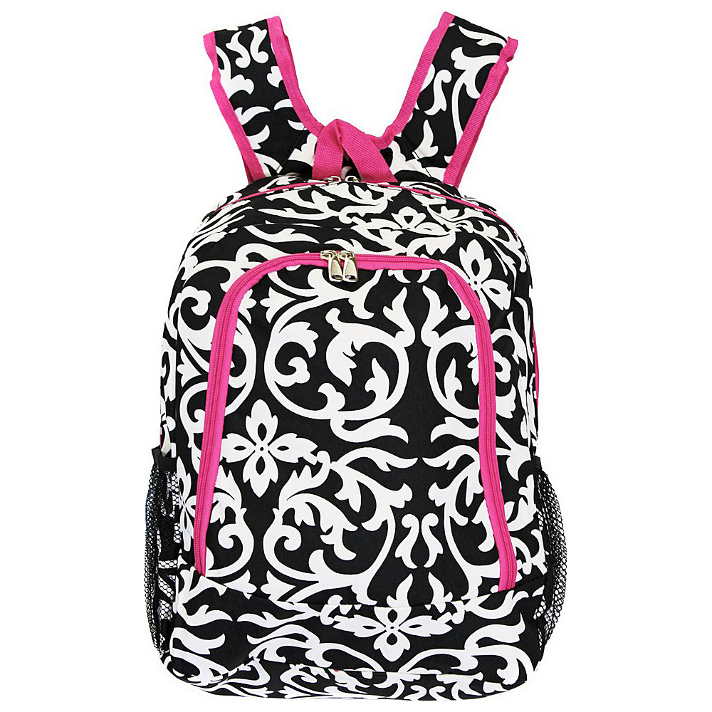 World Traveler Damask 16 Multipurpose Backpack Pink Trim Damask World Traveler Everyday Backpacks