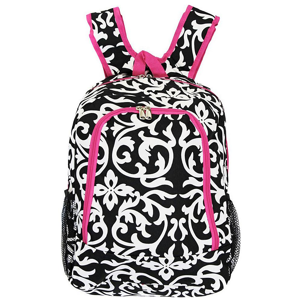World Traveler Damask 16 Multipurpose Backpack Pink Trim Damask - World Traveler Everyday Backpacks - Backpacks, Everyday Backpacks