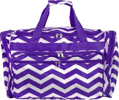 World Traveler Chevron 19 inch Shoulder Duffle Bag Purple White Chevron - World Traveler Rolling Duffels