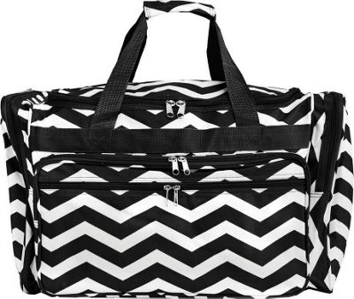 World Traveler Chevron 19 inch Shoulder Duffle Bag Black White Chevron - World Traveler Rolling Duffels