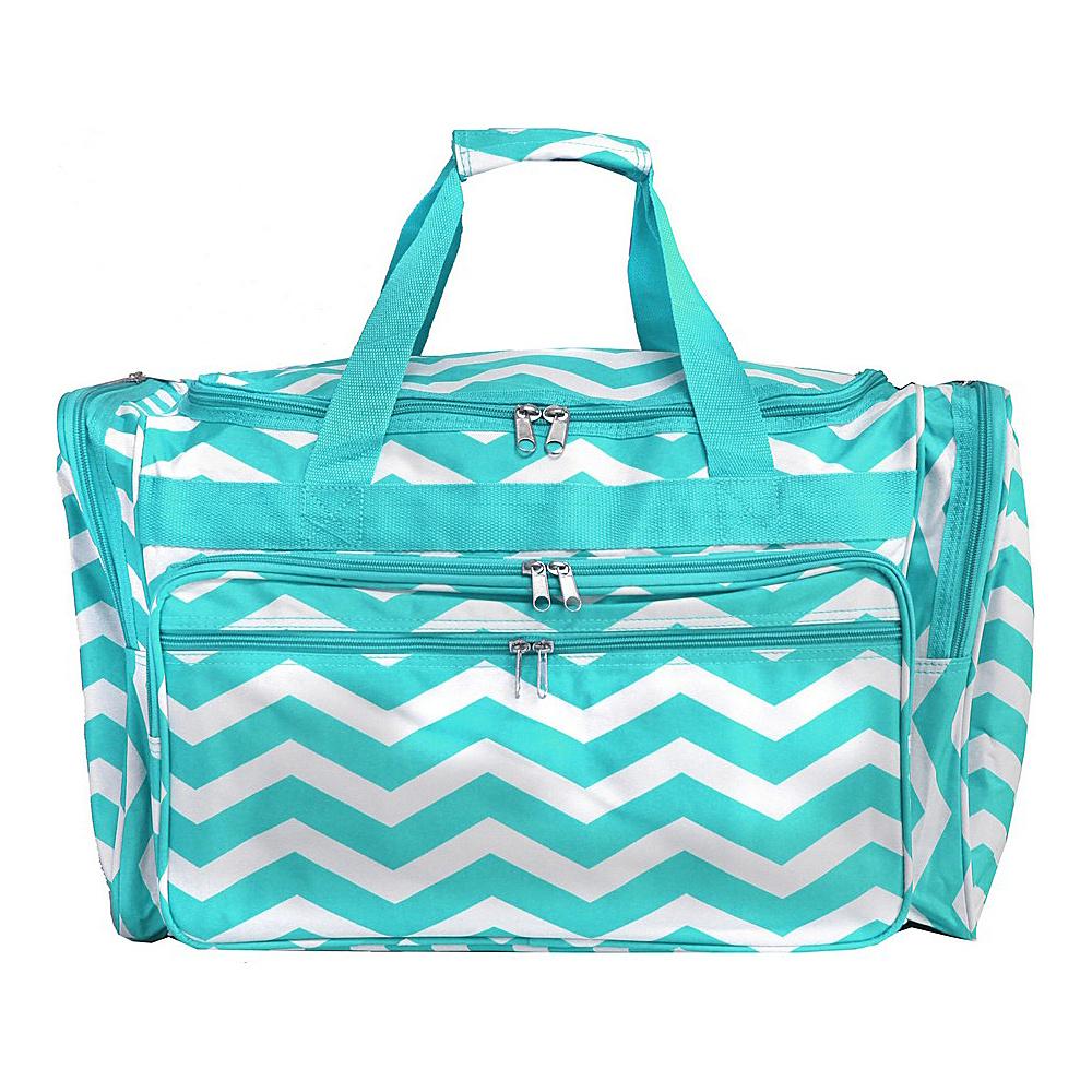 World Traveler Chevron 19 Shoulder Duffle Bag Blue White Chevron - World Traveler Rolling Duffels - Luggage, Rolling Duffels
