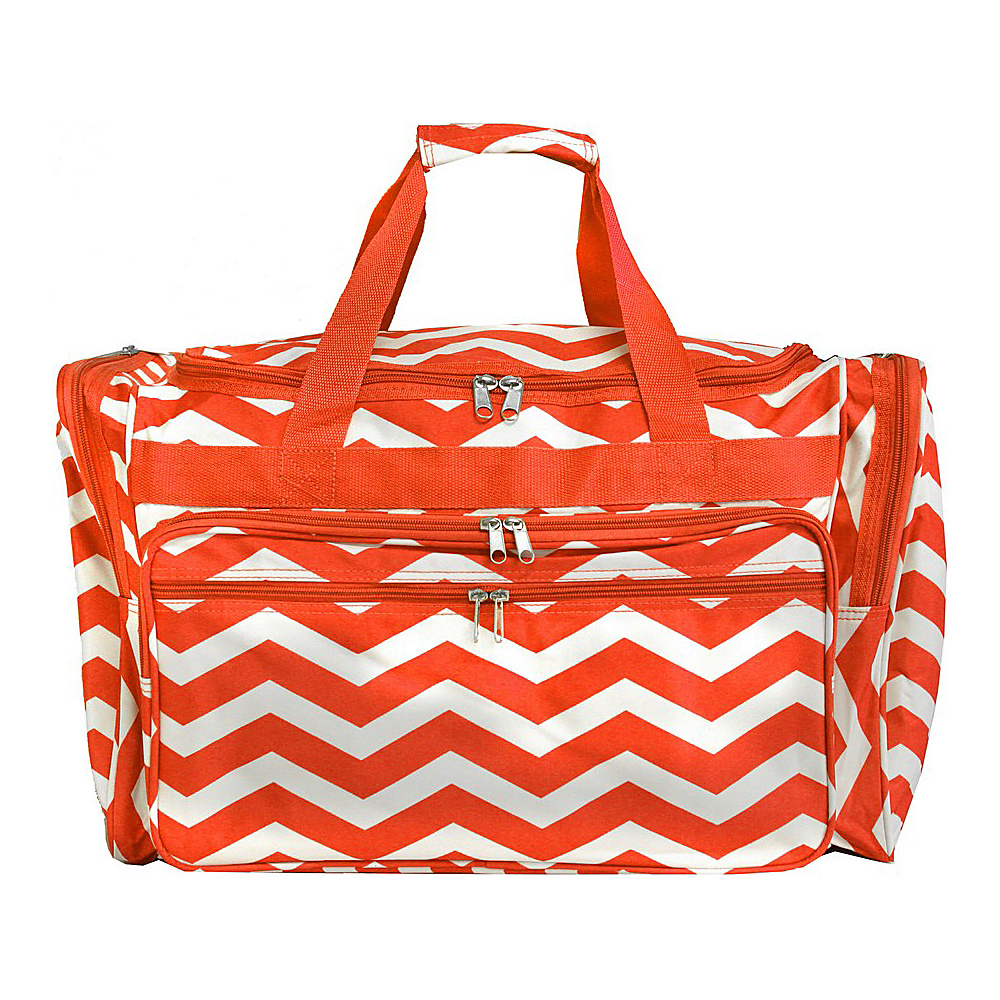 World Traveler Chevron 19 Shoulder Duffle Bag Orange White Chevron World Traveler Rolling Duffels