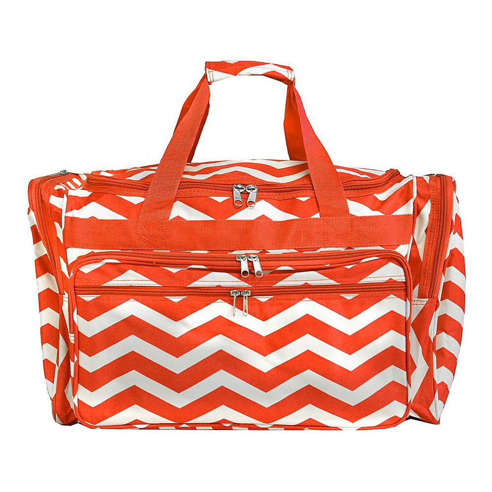 World Traveler Chevron 19 Shoulder Duffle Bag Orange White Chevron - World Traveler Rolling Duffels - Luggage, Rolling Duffels