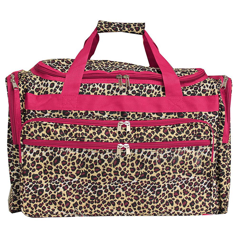 World Traveler Leopard 22 Travel Duffle Bag Pink Trim Leopard - World Traveler Rolling Duffels - Luggage, Rolling Duffels