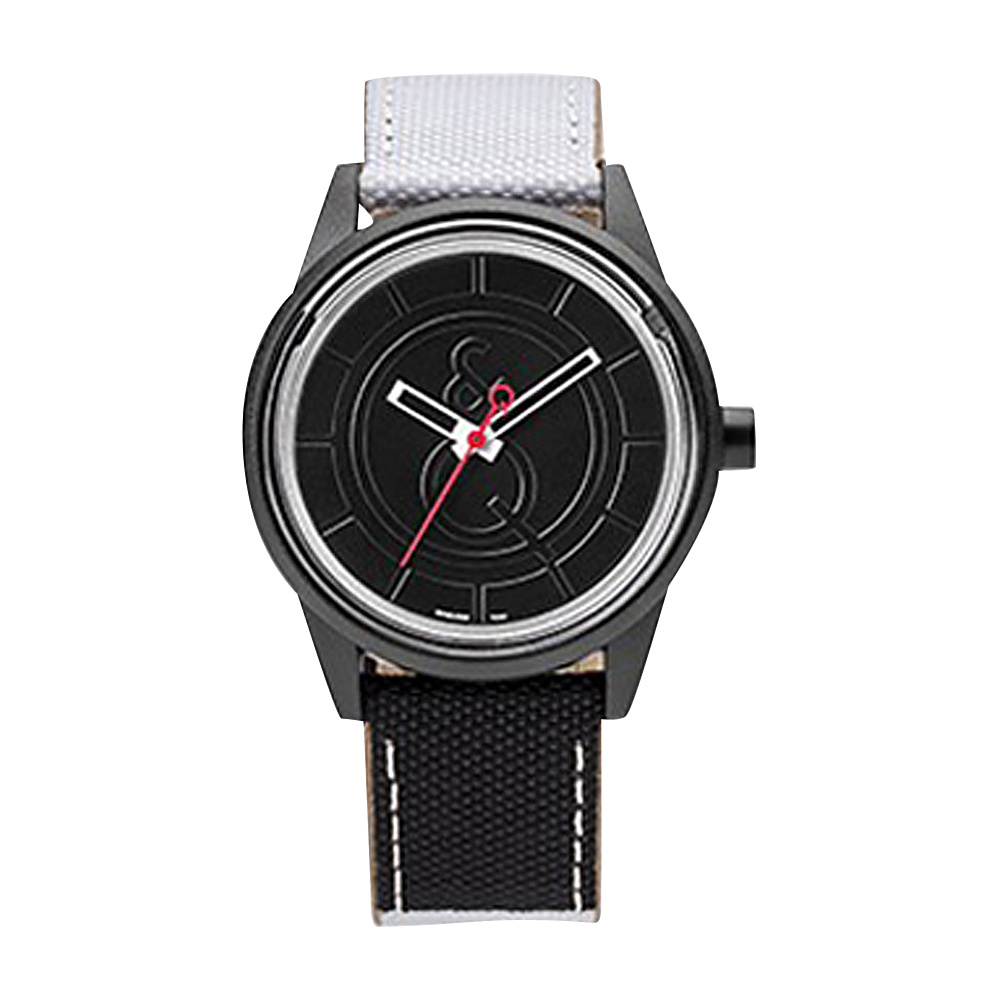 Q & Q Smile Solar Men's Sporty Stripe Watch Black/White - Q & Q Smile Solar Watches