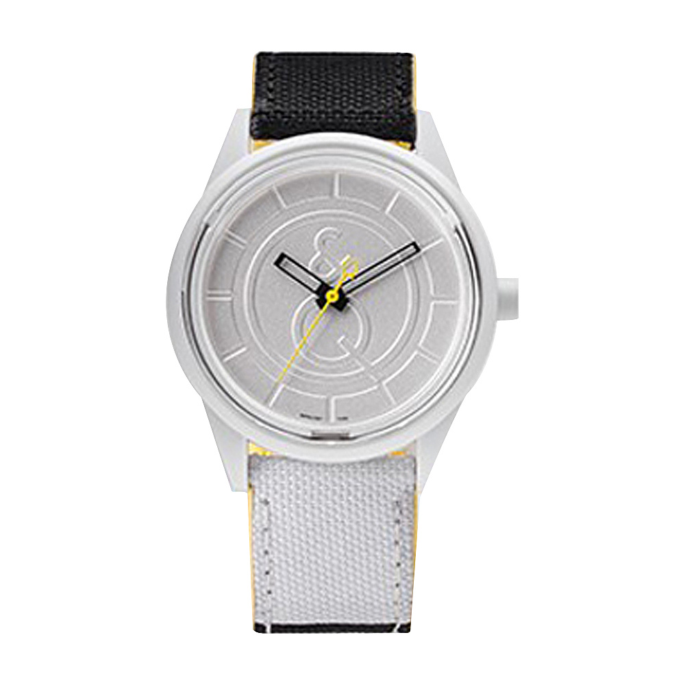 Q & Q Smile Solar Men's Sporty Stripe Watch White/Black - Q & Q Smile Solar Watches