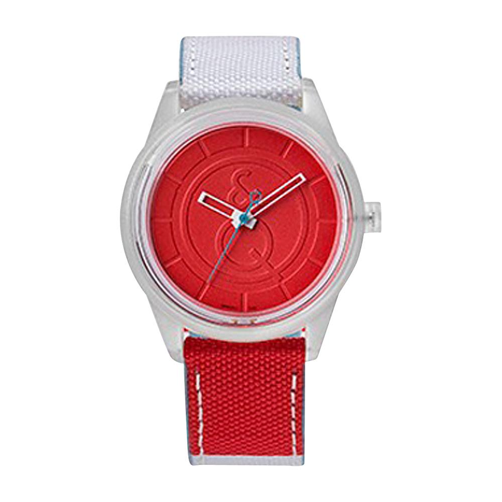 Q & Q Smile Solar Men's Sporty Stripe Watch Red/White - Q & Q Smile Solar Watches