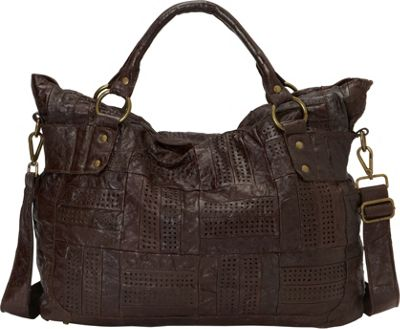 Nala Russo Sabine Perforated Hobo Chocolate - Nala Russo Leather Handbags