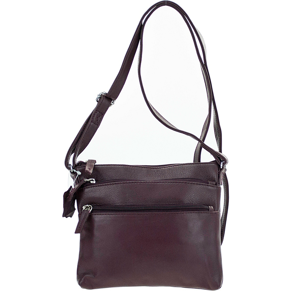 R R Collections Soft Drum Dyed Leather 3 Zip Crossbody Plum R R Collections Leather Handbags