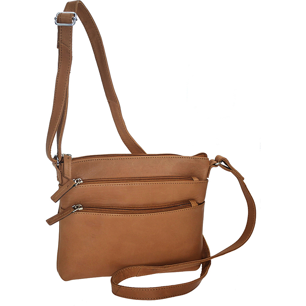R R Collections Soft Drum Dyed Leather 3 Zip Crossbody TAN R R Collections Leather Handbags