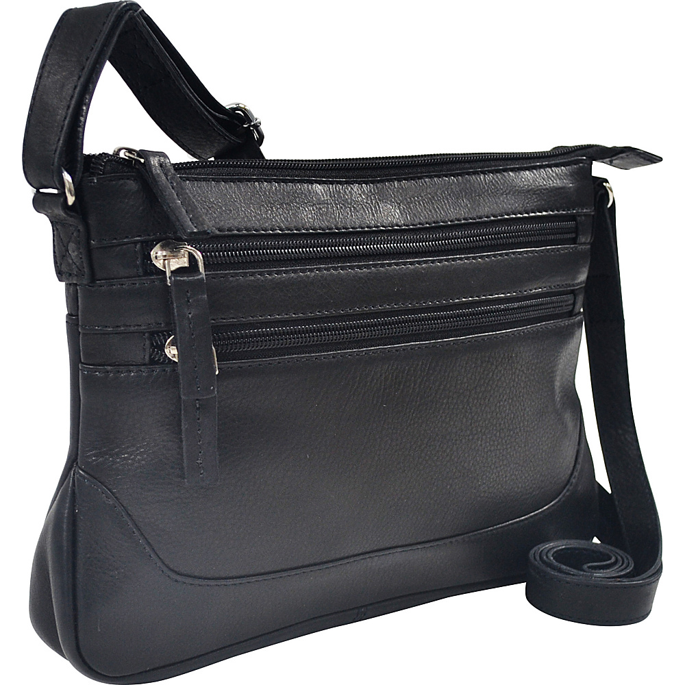R R Collections Soft Drum Dyed Leather 3 Zip Crossbody Black R R Collections Leather Handbags