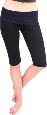 Magid Capri Length Flap Over Yoga Pants S/M - Black/Blue - Large/Extra Large - Magid Women's Apparel