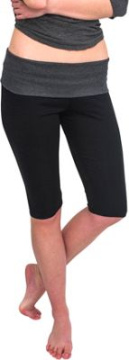 Magid Capri Length Flap Over Yoga Pants L/XL - Black/Grey - Magid Women's Apparel