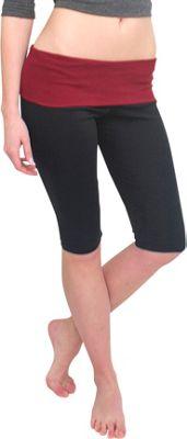 Magid Capri Length Flap Over Yoga Pants 1X/2X - Black/Maroon - Large/Extra Large - Magid Women's Apparel