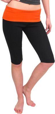 Magid Capri Length Flap Over Yoga Pants 1X/2X - Black/Orange - Large/Extra Large - Magid Women's Apparel