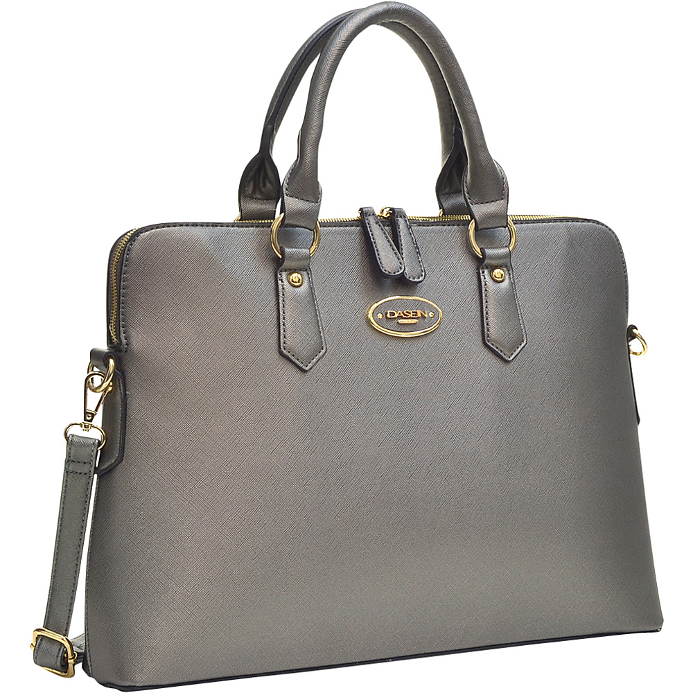 Dasein Slim Briefcase with Removable Shoulder Strap Pewter - Dasein Gym Bags - Sports, Gym Bags