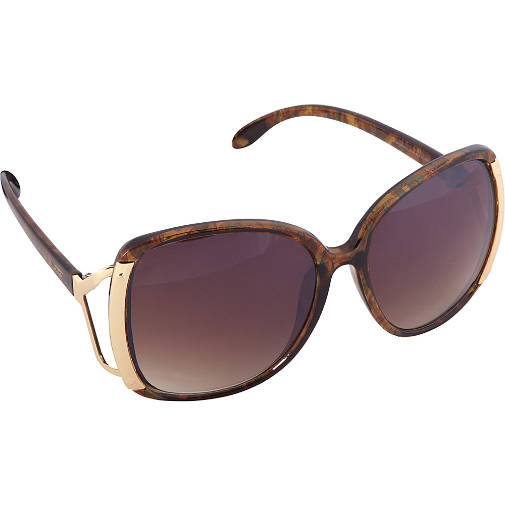 Nanette Nanette Lepore Sunglasses Accented Oversized Glam Sunglasses Brown / Mult / Gold - Nanette Nanette Lepore Sunglasses Sunglasses