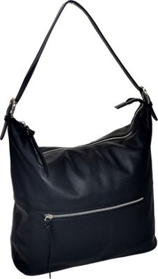 R & R Collections Leather Top Zip Hobo Black - R & R Collections Leather Handbags