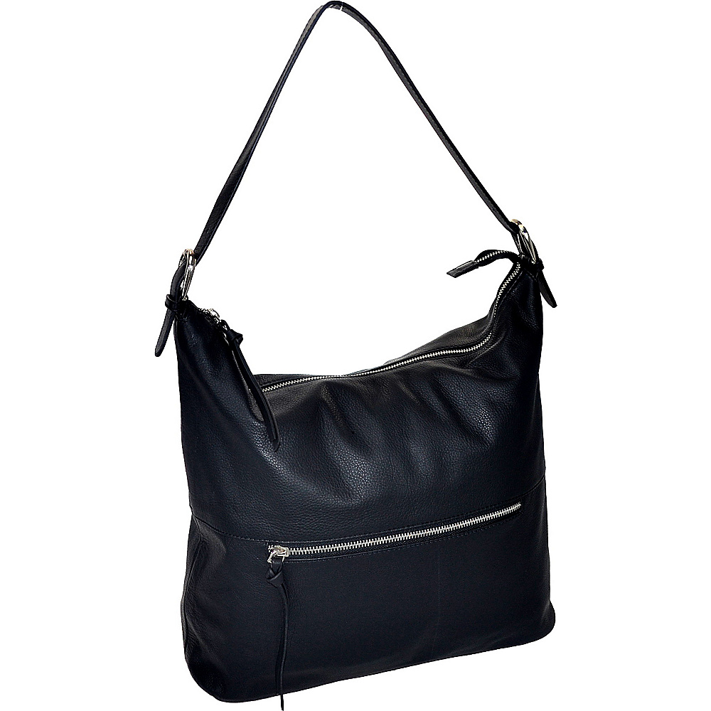R R Collections Leather Top Zip Hobo Black R R Collections Leather Handbags