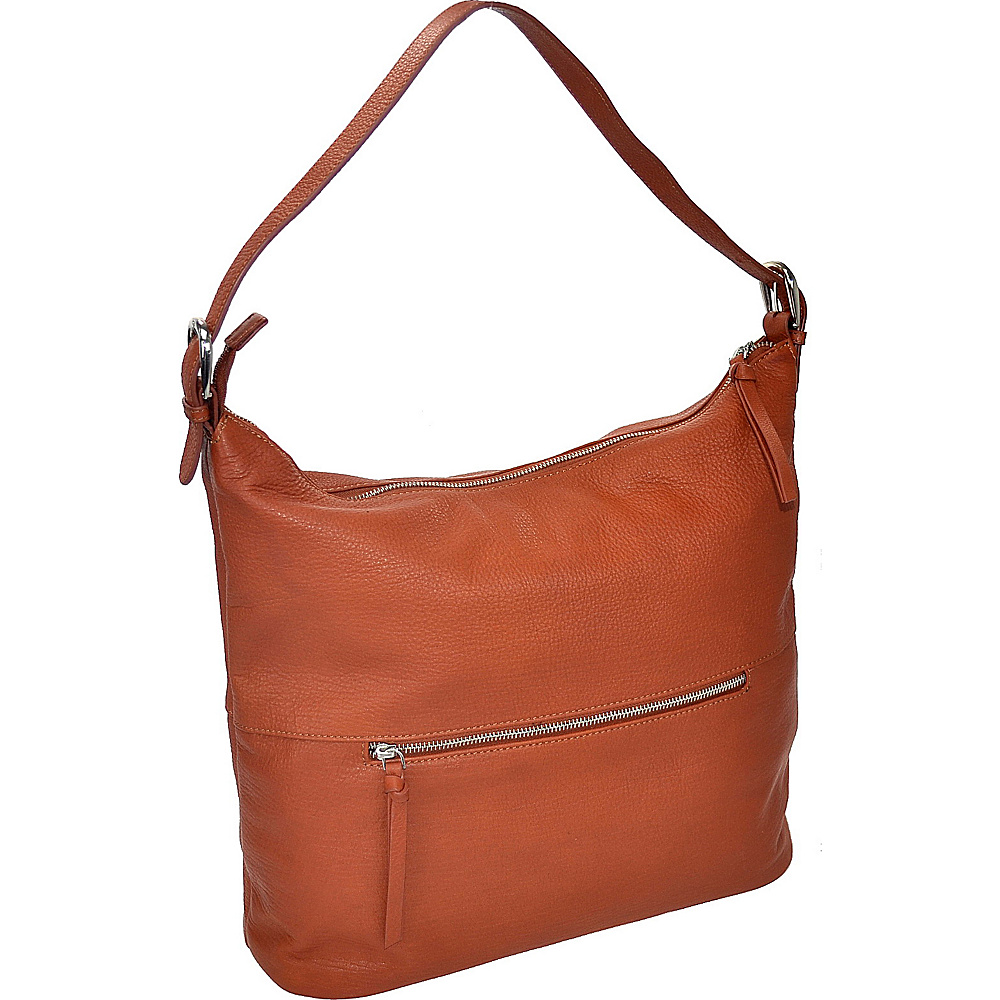 R R Collections Leather Top Zip Hobo COGNAC R R Collections Leather Handbags