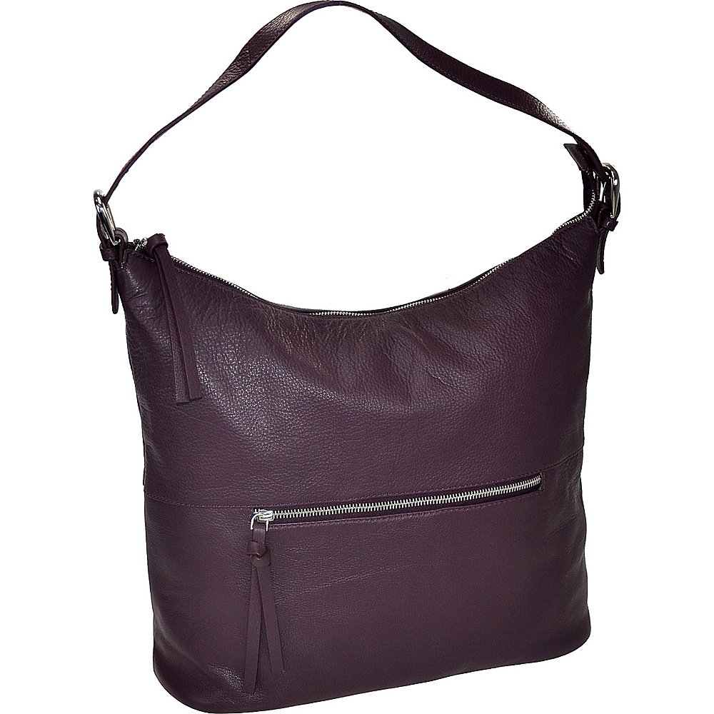 R R Collections Leather Top Zip Hobo Plum R R Collections Leather Handbags