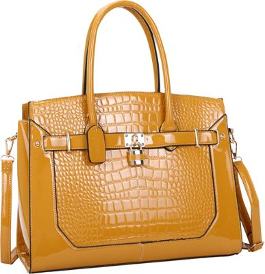 Dasein Large Patent Croco Embossed Faux Leather Padlock Satchel Yellow - Dasein Manmade Handbags