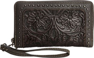 Trinity Ranch Women's Tooled Wallet Black - Trinity Ranch Women's Wallets