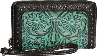 Trinity Ranch Women's Tooled Wallet Turquoise - Trinity Ranch Women's Wallets