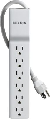 Belkin 6 - Outlet Home/Office Surge Protector 4' Cord White - Belkin Electronic Accessories