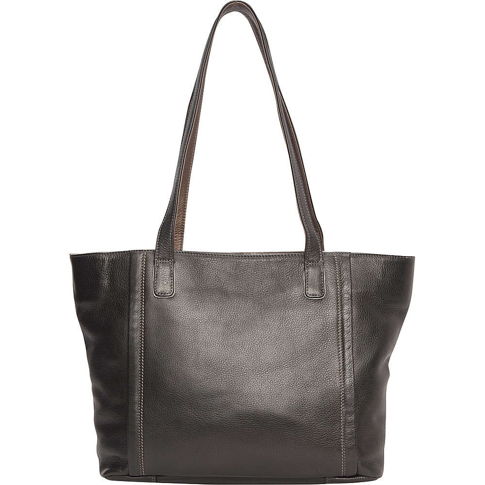Derek Alexander Inset Top Zip Tote Black/Metallic - Derek Alexander Leather Handbags - Handbags, Leather Handbags
