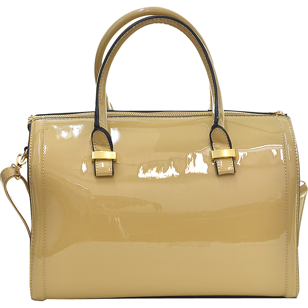 Dasein Patent Faux Leather Barrel Body Satchel Beige - Dasein Manmade Handbags - Handbags, Manmade Handbags