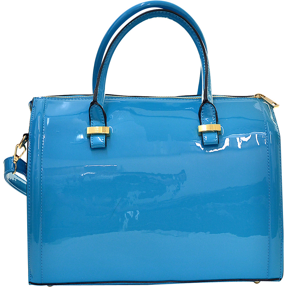 Dasein Patent Faux Leather Barrel Body Satchel Blue - Dasein Manmade Handbags - Handbags, Manmade Handbags