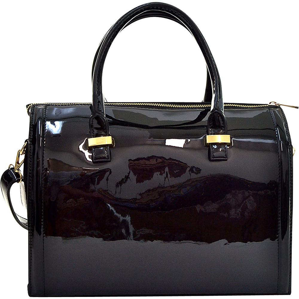 Dasein Patent Faux Leather Barrel Body Satchel Black - Dasein Manmade Handbags - Handbags, Manmade Handbags